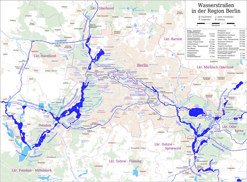 Gewässerkarte von Berlin