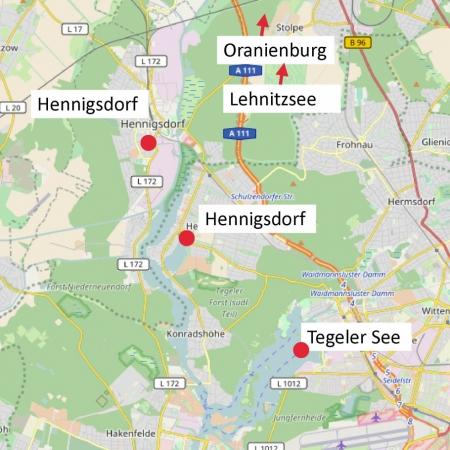 Karte Richtung Oranienburg