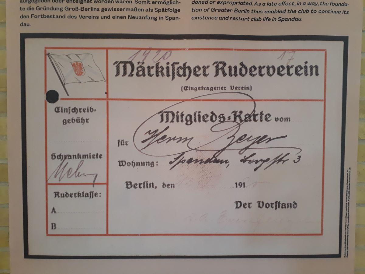 Eine Mitgliedskarte des Märkischen Rudervereins aus dem Jahr 1920